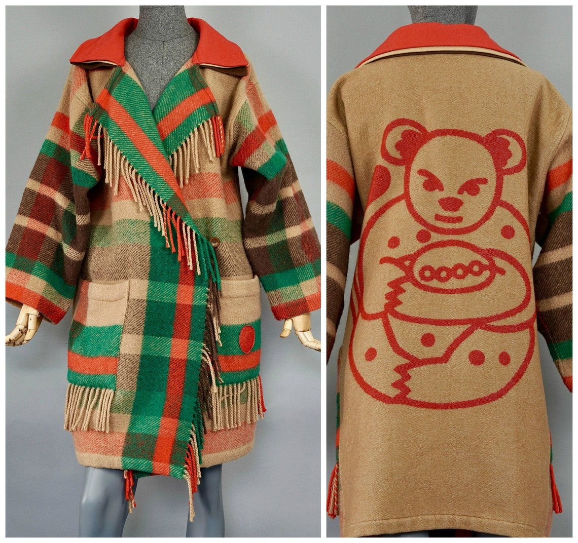 Vintage Jeans Charles De Castelbajac Ko And Co Tartan Fringe Teddy Bear Coat
