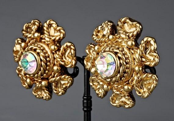 Vintage Massive CLAIRE DEVE Flower Rhinestone Ear… - image 1