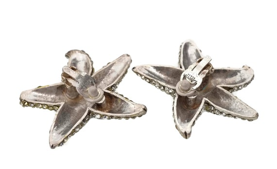 Vintage LANVIN PARIS Star Rhinestone Silver Earri… - image 5