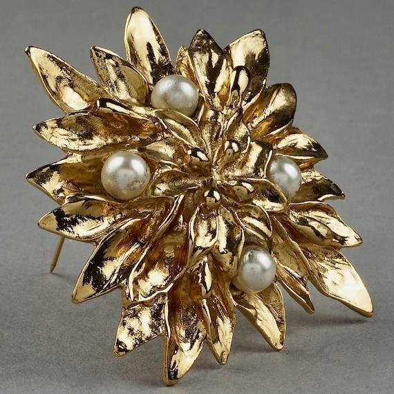 Vintage YVES SAINT LAURENT Ysl Pearl Flower Brooch - image 2