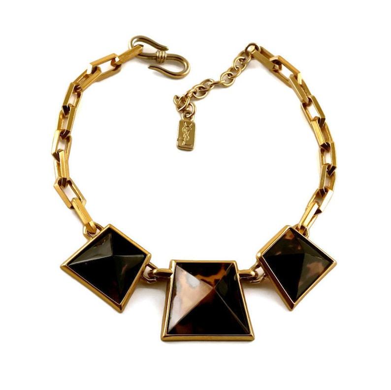 61fa970effe Vintage Iconic YSL Yves Saint Laurent Leopard Pyramid Necklace   Etsy