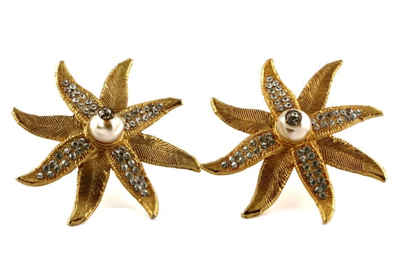 Vintage CLAIRE DEVE Ribbed Flower Pearl Rhineston… - image 4