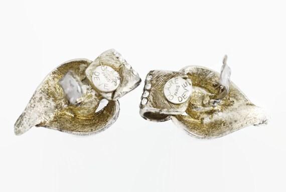 Vintage CLAIRE DEVE Rustic Pearl Rhinestone Earri… - image 7