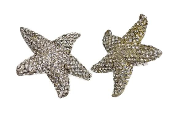 Vintage LANVIN PARIS Star Rhinestone Silver Earri… - image 4