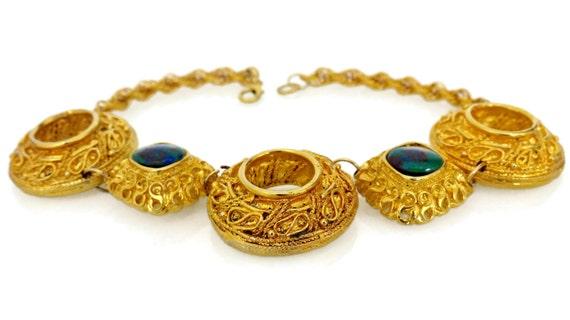Vintage Claire Deve Byzantine Turquoise Stone Nec… - image 3