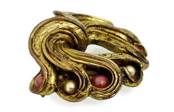 Vintage Claire Deve Pearl Coral Curled Brooch - image 4