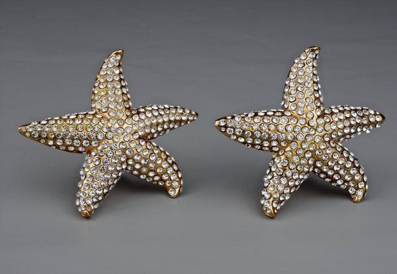 Vintage Lanvin Paris Star Fish Rhinestone Earrings - image 4
