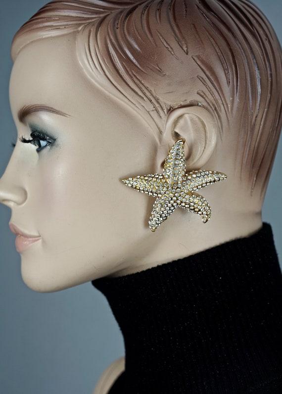 Vintage Lanvin Paris Star Fish Rhinestone Earrings - image 2
