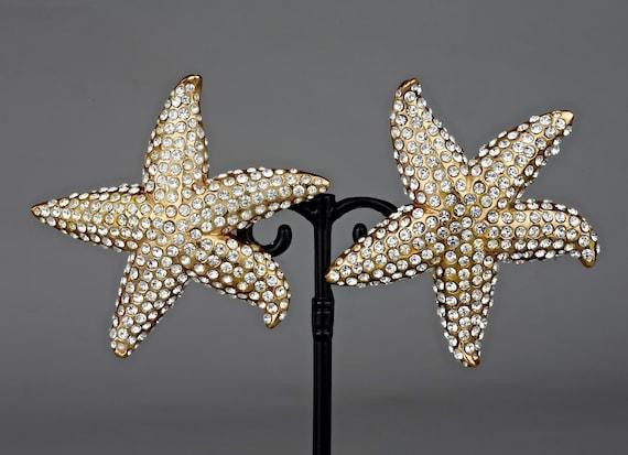 Vintage Lanvin Paris Star Fish Rhinestone Earrings - image 6