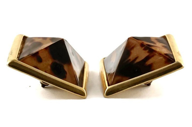 a40781f82e9 Vintage YSL Yves Saint Laurent Iconic Leopard Pyramid Earrings   Etsy