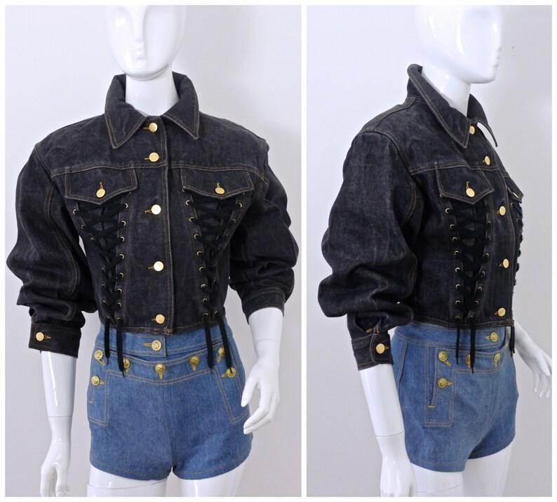 Vintage JEAN PAUL GAULTIER Corset Lace Up Denim Jacket  228ceb62a
