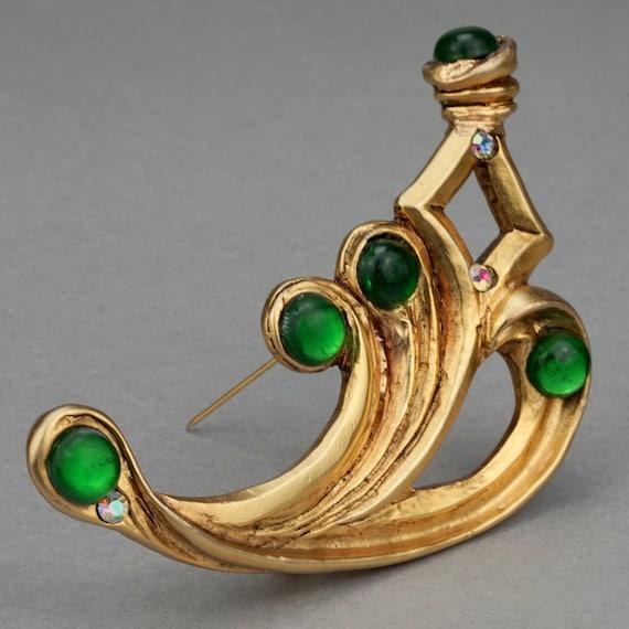Vintage Massive CLAIRE DEVE PARIS Curved Green Je… - image 3