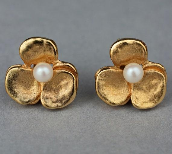 Vintage LANVIN PARIS Flower Pearl Earrings - image 1