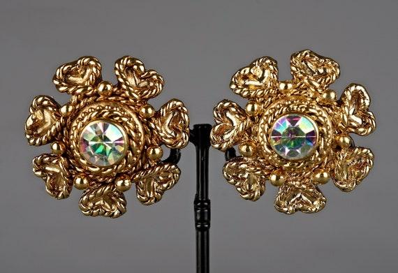 Vintage Massive CLAIRE DEVE Flower Rhinestone Ear… - image 2