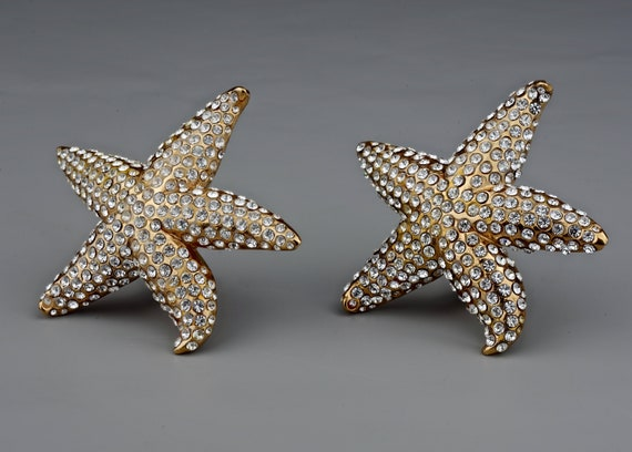 Vintage Lanvin Paris Star Fish Rhinestone Earrings - image 5