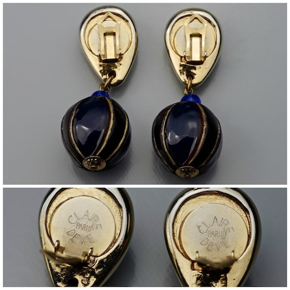 Vintage CLAIRE DEVE Glass Ball Dangling Earrings - image 9