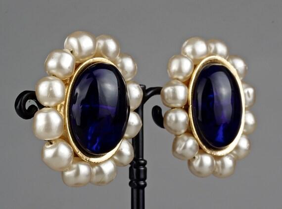 Vintage CHANEL Blue Gripoix Pearl Earrings