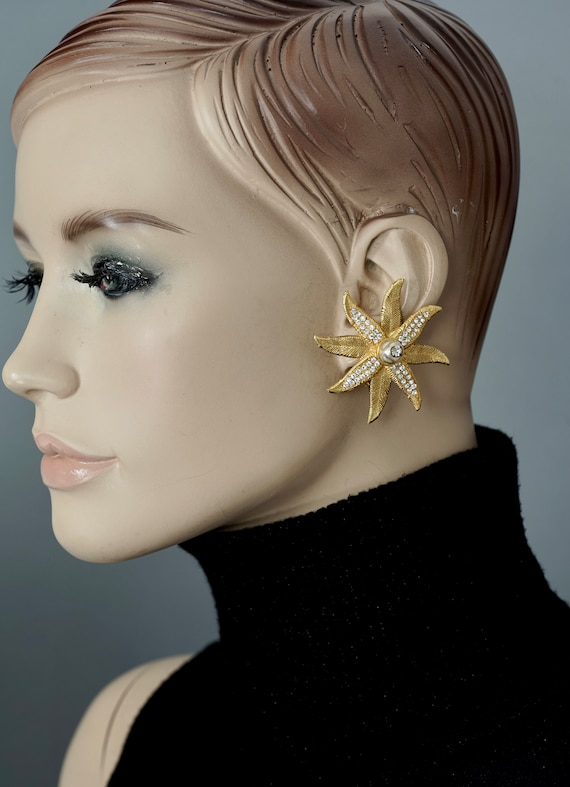 Vintage CLAIRE DEVE Ribbed Flower Pearl Rhineston… - image 5