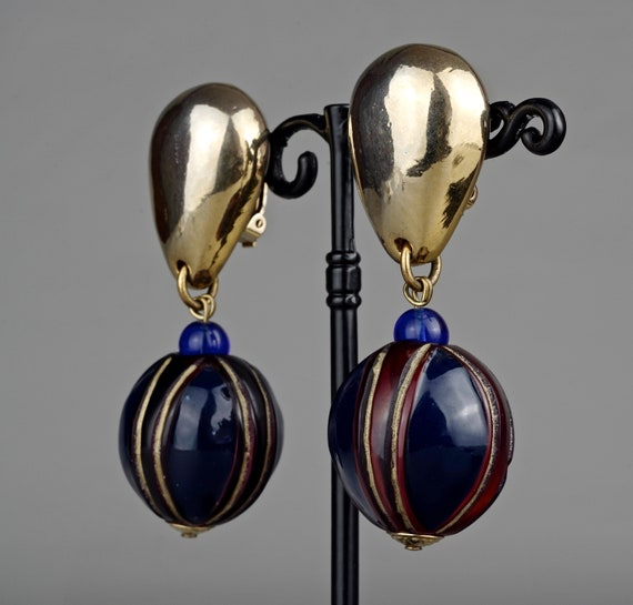 Vintage CLAIRE DEVE Glass Ball Dangling Earrings - image 3