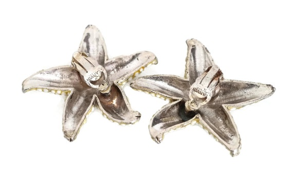 Vintage LANVIN PARIS Star White Stone Studded Ear… - image 5