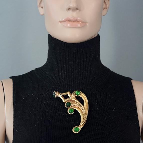 Vintage Massive CLAIRE DEVE PARIS Curved Green Je… - image 8