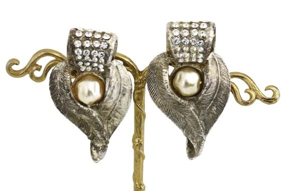 Vintage CLAIRE DEVE Rustic Pearl Rhinestone Earri… - image 6