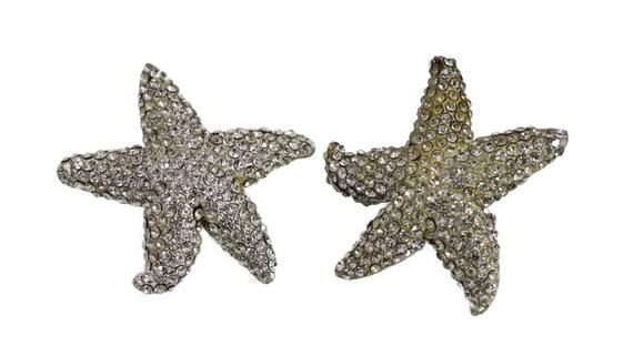 Vintage LANVIN PARIS Star Rhinestone Silver Earri… - image 2