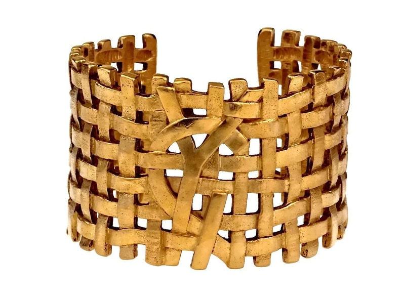535577cb107909 Vintage YVES SAINT LAURENT Ysl Logo Woven Cuff Bracelet | Etsy