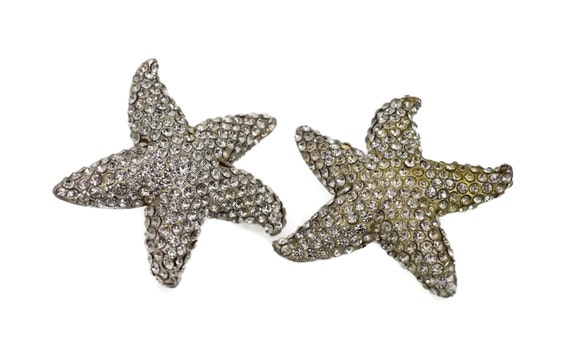 Vintage LANVIN PARIS Star Rhinestone Silver Earri… - image 3
