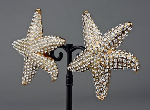 Vintage Lanvin Paris Star Fish Rhinestone Earrings - image 1