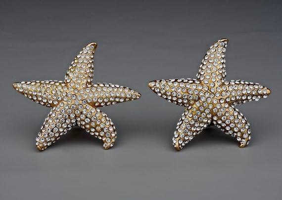 Vintage Lanvin Paris Star Fish Rhinestone Earrings - image 3