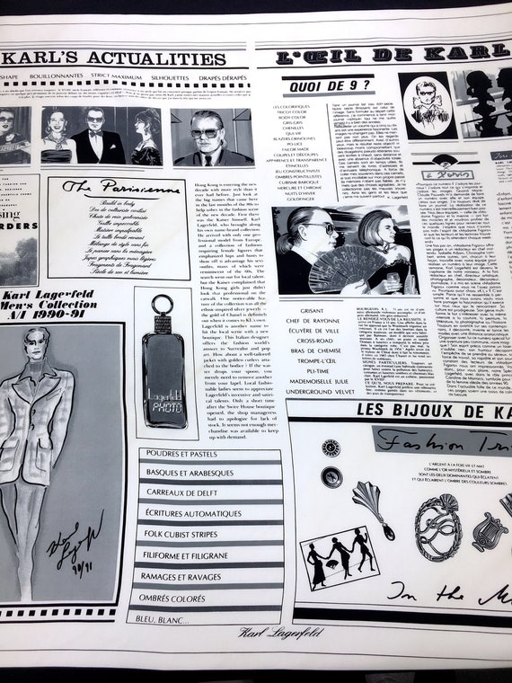 Vintage KARL LAGERFELD Newspaper Advertisement Jou
