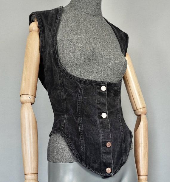 Vintage JEAN PAUL GAULTIER  Denim Corset Vest Top