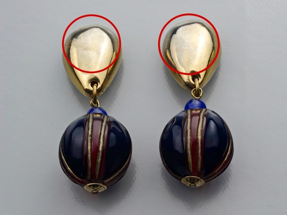 Vintage CLAIRE DEVE Glass Ball Dangling Earrings - image 10