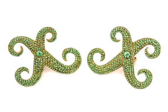 Vintage LANVIN Paris Runway Peridot Cross Earrings - image 2