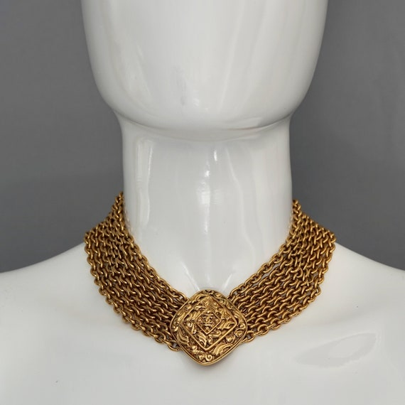 Vintage CHANEL Logo Diamond Multi Chain Necklace