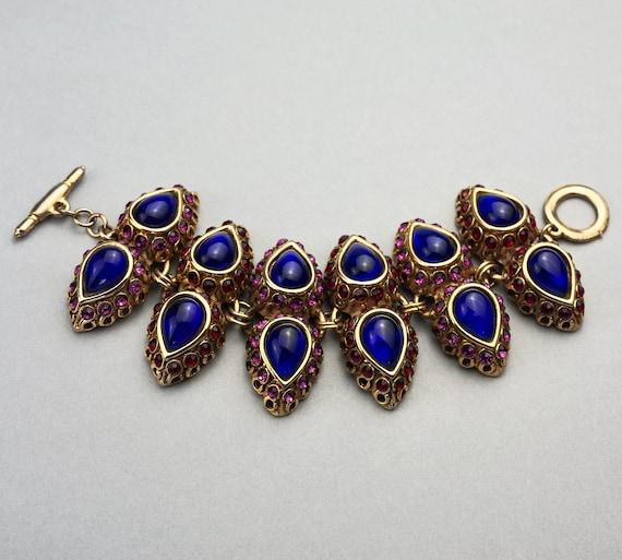 Vintage CLAIRE DEVE Mogul Jewelled Cuff Bracelet - image 2