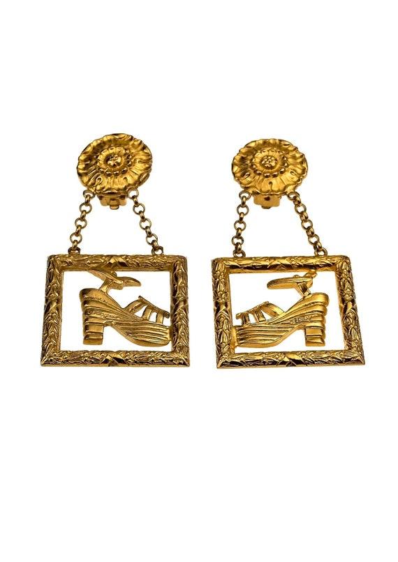 Cru emblématique SALVATORE FERRAGAMO plate-forme chaussures découpe boucles d'oreilles d'oreilles d'oreilles | Exquis (en) Exécution  6d4c99