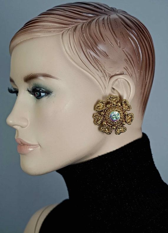 Vintage Massive CLAIRE DEVE Flower Rhinestone Ear… - image 7