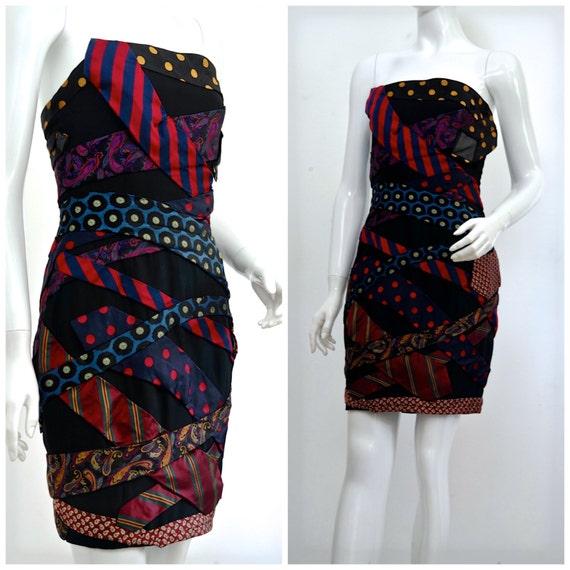 Vintage MOSCHINO Neckties Bustier Silk Dress