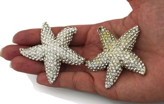 Vintage LANVIN PARIS Star Rhinestone Silver Earri… - image 1