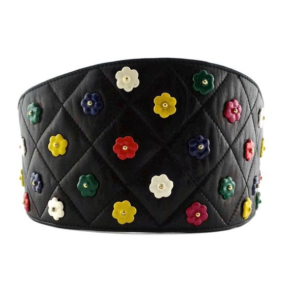 Vintage CHANEL Quilted Colourful Camellia Leather