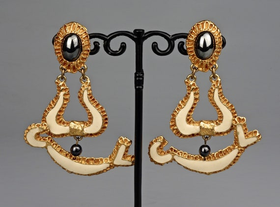 Vintage CHRISTIAN LACROIX Baroque Enamel Earrings