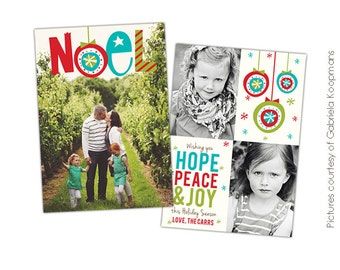 INSTANT DOWNLOAD - Christmas Flat Card Photoshop template - Noel - E530