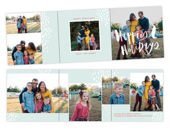 INSTANT DOWNLOAD - 5x5 Christmas Accordion Card Photoshop Template - E1417