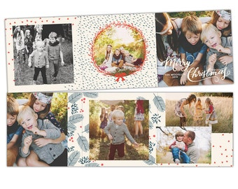 INSTANT DOWNLOAD - 5x5 Christmas Accordion Card Photoshop Template - E1170