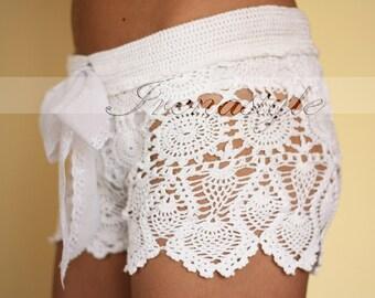 Crochet pants. Crochet beach shorts in cotton Custom made to order, Lace Shorts, crochet handmade, crochet shorts   Kate Hudson Size S - M