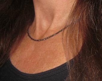 Super Tiny Faceted Hematite Stone Beaded Necklace, 1 x 1.5 mm Hematite Beaded Short Necklace/Choker, Hematite Necklace, minimalist