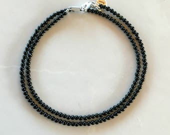Black Tourmaline Very Small Stone Necklace, 3mm Tourmaline Rounds, Stone Choker, Short Necklace, Black Stone Necklace