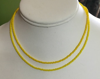 Super Tiny Yellow Seed Bead Necklace / Choker, Choose a Shade, Choose a Length, Lemon and Bright Yellow Opaque Tiny Seed Bead Necklace